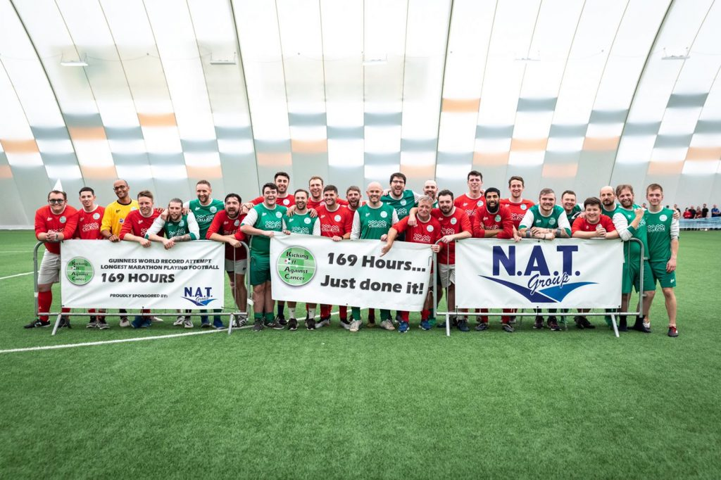 the players celebrate the successful Guinness World Record Attempt