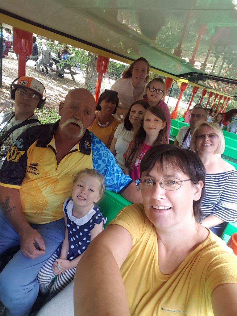 The family on the Legoland Express train